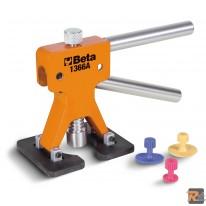 1366A - Attrezzo levabolli con kit di 19 funghetti di plastica Da utilizzare con colla a caldo  per superfici verniciate. - BETA UTENSILI