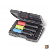 720LCL/C3 - Serie di 3 chiavi a bussola Macchina lunghe colorate con inserti polimerici per dadi ruote in valigetta di plastica LUNGHE - BETA UTENSILI