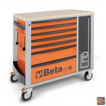 C24 SL-CAB - Cassettiera mobile con  7 cassetti e armadietto porta-oggetti ARANCIONE