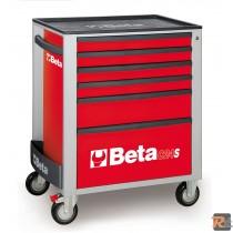 C24S R/6 - CASSETTIERA MOBILE ROSSA CON SEI CASSETTI - VUOTA - BETA UTENSILI