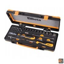 900/C12MRAssortimento di 12 chiavi a bussola esagonali, 20 inserti per avvitatori e 7 accessori in termoformato morbido, in cassetta di lamiera - BETA UTENSILI
