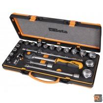 920A/C17MRAssortimento di 17 chiavi a bussola esagonali e 5 accessori in termoformato morbido, in cassetta di lamiera