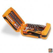 900/C39 - Assortimento di 11 chiavi a bussola esagonali, 21 inserti per avvitatori e 7 accessori - BETA UTENSILI