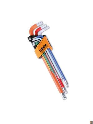 96BP-CL/SC9 - Serie di 9 chiavi maschio esagonale piegate colorate con un'estremità sferica
