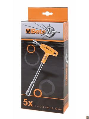 Serie di 5 chiavi a pipa esagonali-poligonali con impugnatura di manovra 941/S5