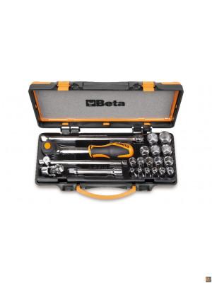 "910A/C16HR - Assortimento di 16 chiavi a bussola esagonali e 5 accessori  in cassetta di lamiera 3/8"""