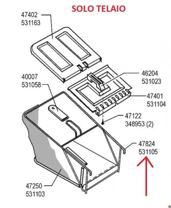 Telaio di ricambio per cesto rasaerba Sigma SL 50 BR - cod. 531105