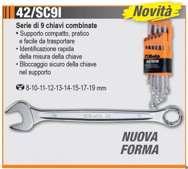 42/SC9I - SERIE DI 9 CHIAVI COMBINATE CON SUPPORTO COMPATTO