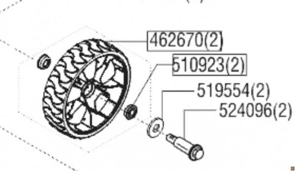 RUOTA CON PERNO RICAMBIO PER TOSAERBA ALKO GT 5.18 RH (CODICE MACCHINA 119880)